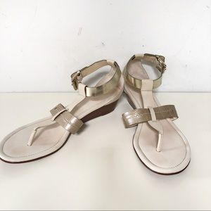 """Coach """"velvet"""" sandals in cream and gold leather"""